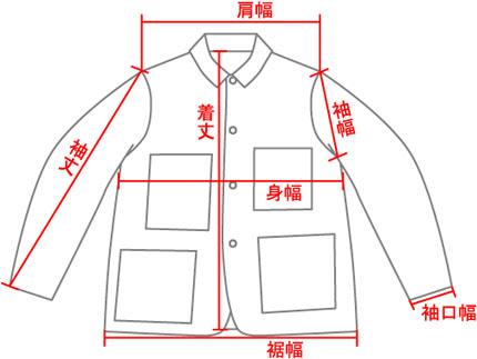 ジェントX & シブロ オーバーオールジャケット 当店での測り方