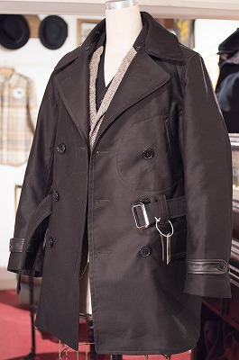 Double Breasted Style Men's Coat 襟ボア外し状態