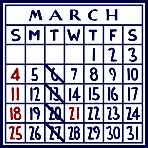 カレンダー:2018/03