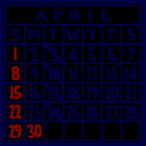 カレンダー:2018/04