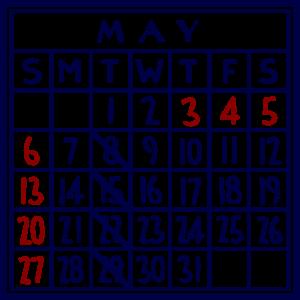 カレンダー:2018/05