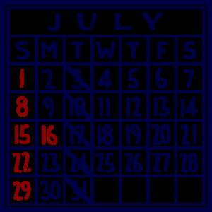 カレンダー:2018/07